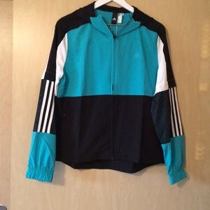 NWT Adidas Sport to Street hooded wind jacket.